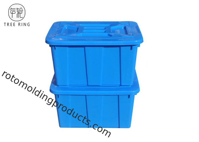 C614l  Stackable Blue Plastic Storage Boxes With Lids / Cover  670 * 490 * 390 Mm