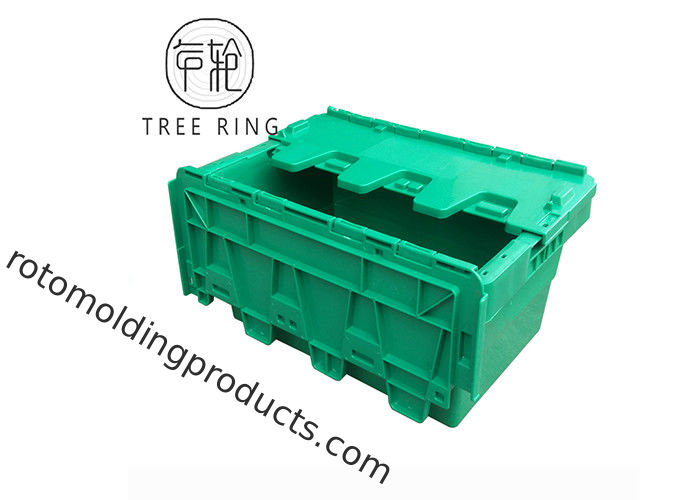 Recycled Green Plastic Storage Boxes With Lids Hinged , Attached Lids Container 500 X 330 X 236mm