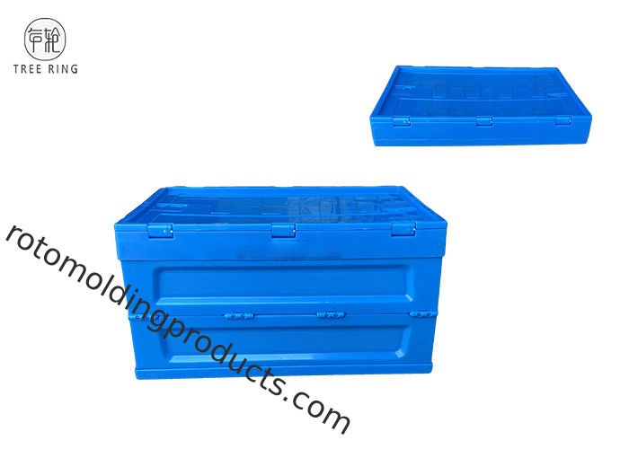Folding Container Collapsible Plastic Crate With Attached Lid For Commercial 65 Liter