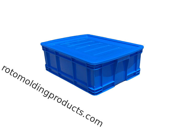HDPE Euro Stacking Containers Blue Color Straight Wall Containers With Lids 500*380*180mm